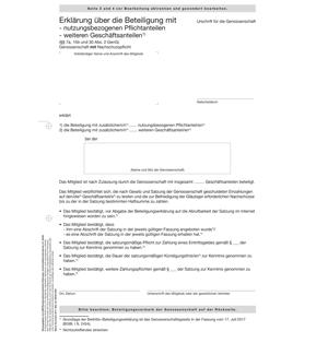 Erklärung über die Beteiligung mit weiteren Pflichtanteilen  weiteren freiwilligen Geschäftsanteilen