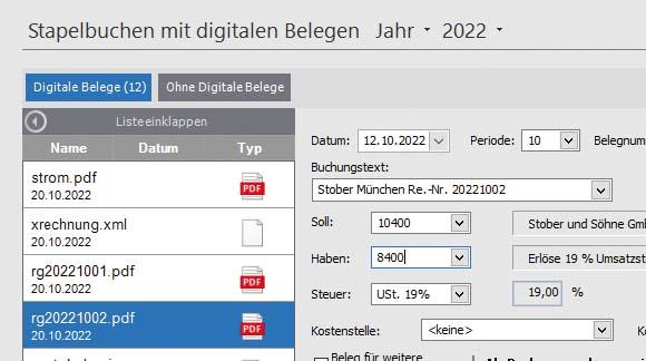 Betriebssoftware mit integrierter Buchhaltung
