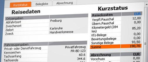 On top: Reisekostenabrechnung